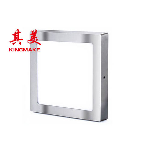 LED panel light-satin nickel square surface mounted