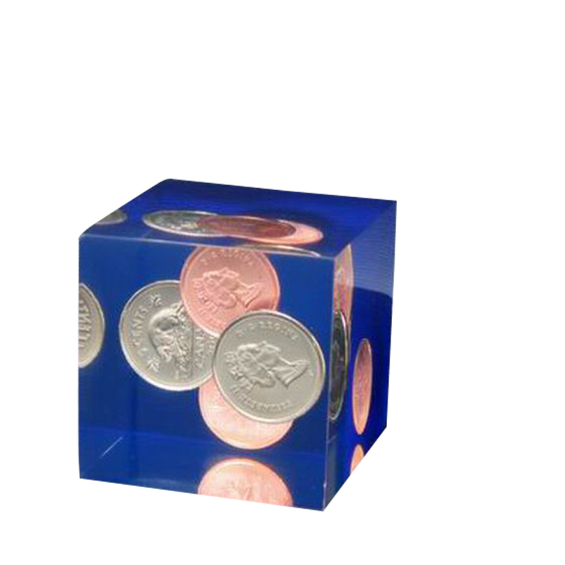 Resin paperweight personalised Coin