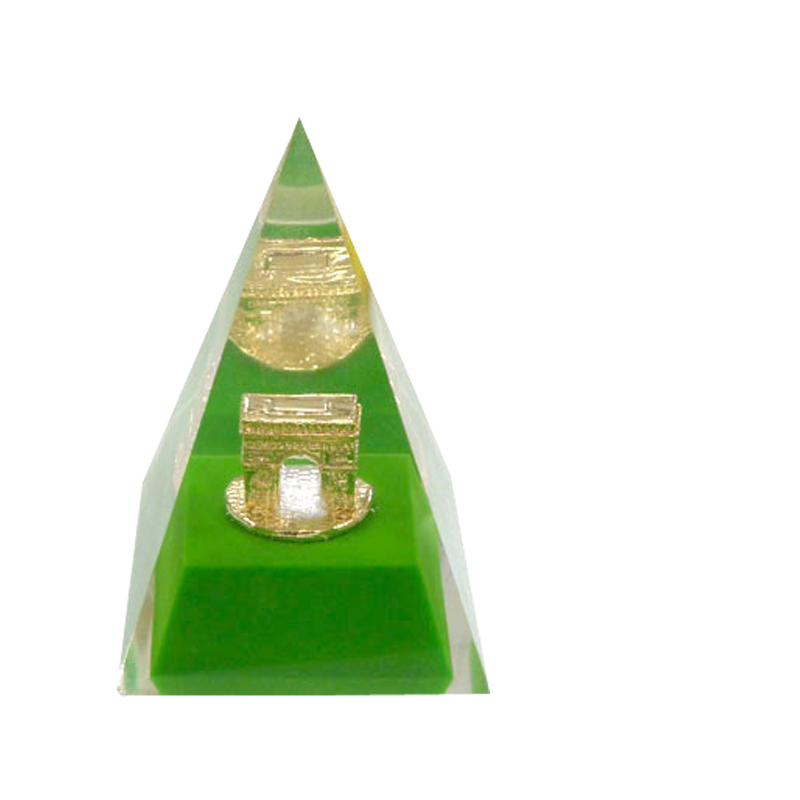 Lucite paperweight Golden Metal