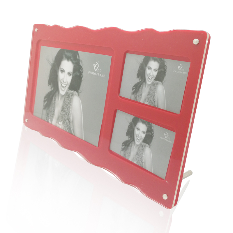 A Red Acrylic Photo Frame with three photos