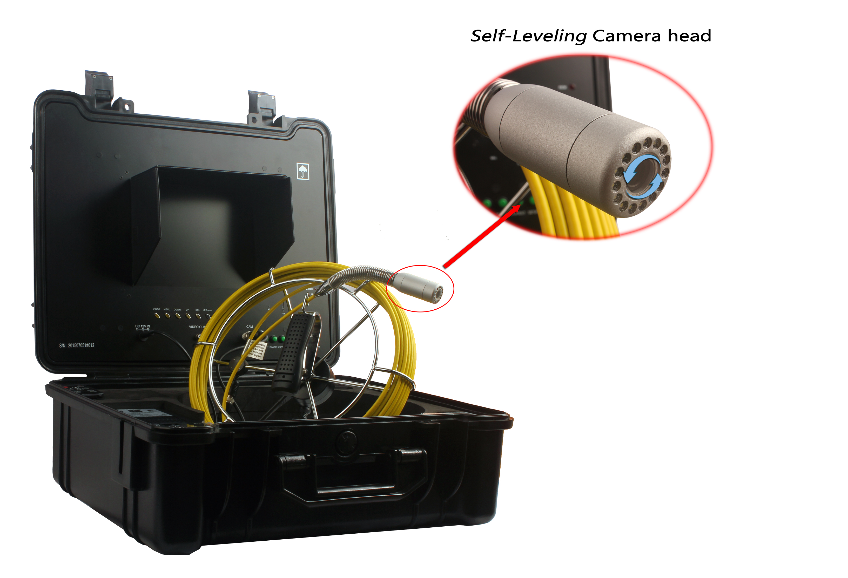 WITSON Sewer Pipe Inspection Camera with 26mm Self-leveling Metal Camera