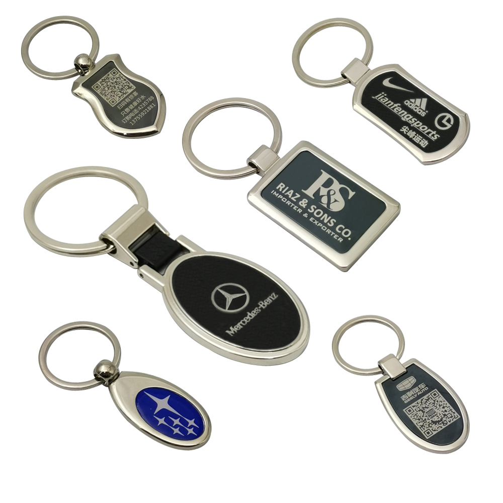 Wholesale cheap metal custom logo printed retractable keychain/keyring