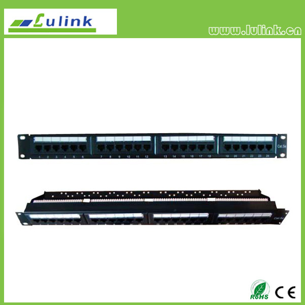 Cat5e UTP 24 PORT Patch Panel With Bar(Double USE End)