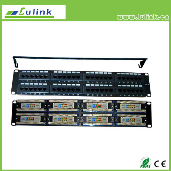 Cat5e UTP 48 PORT Patch Panel With Bar(Double USE End)