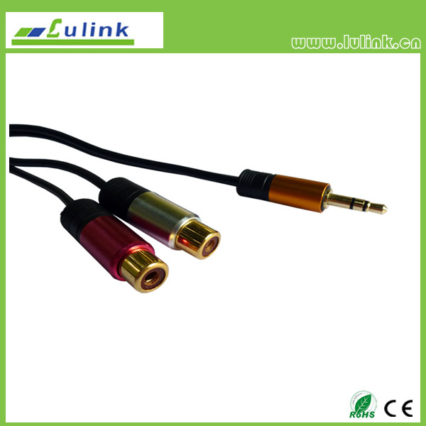 3.5 male to 2RCA female cable