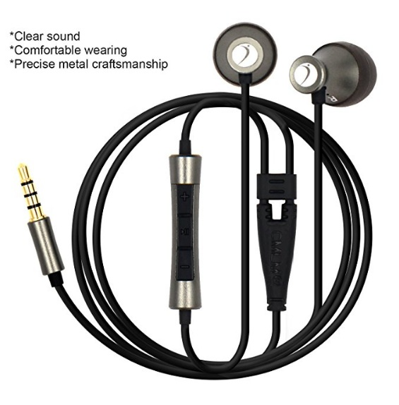 Ear Earphones with Volume Control and Microphone