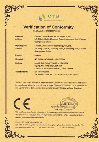 CE certificate-Inverter LVD low voltage command