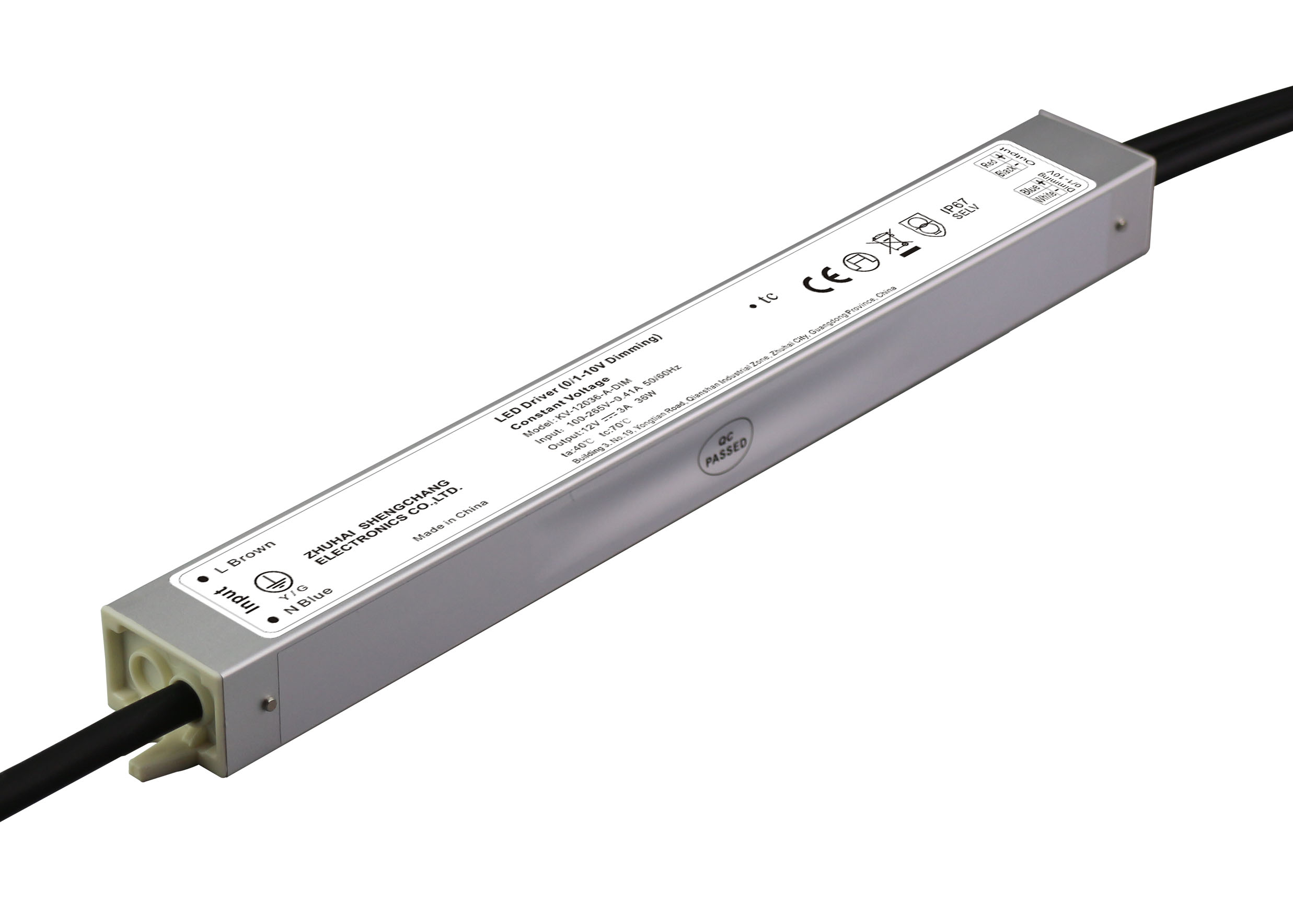 36W IP67 0/1-10V constant voltage dimmable LED driver