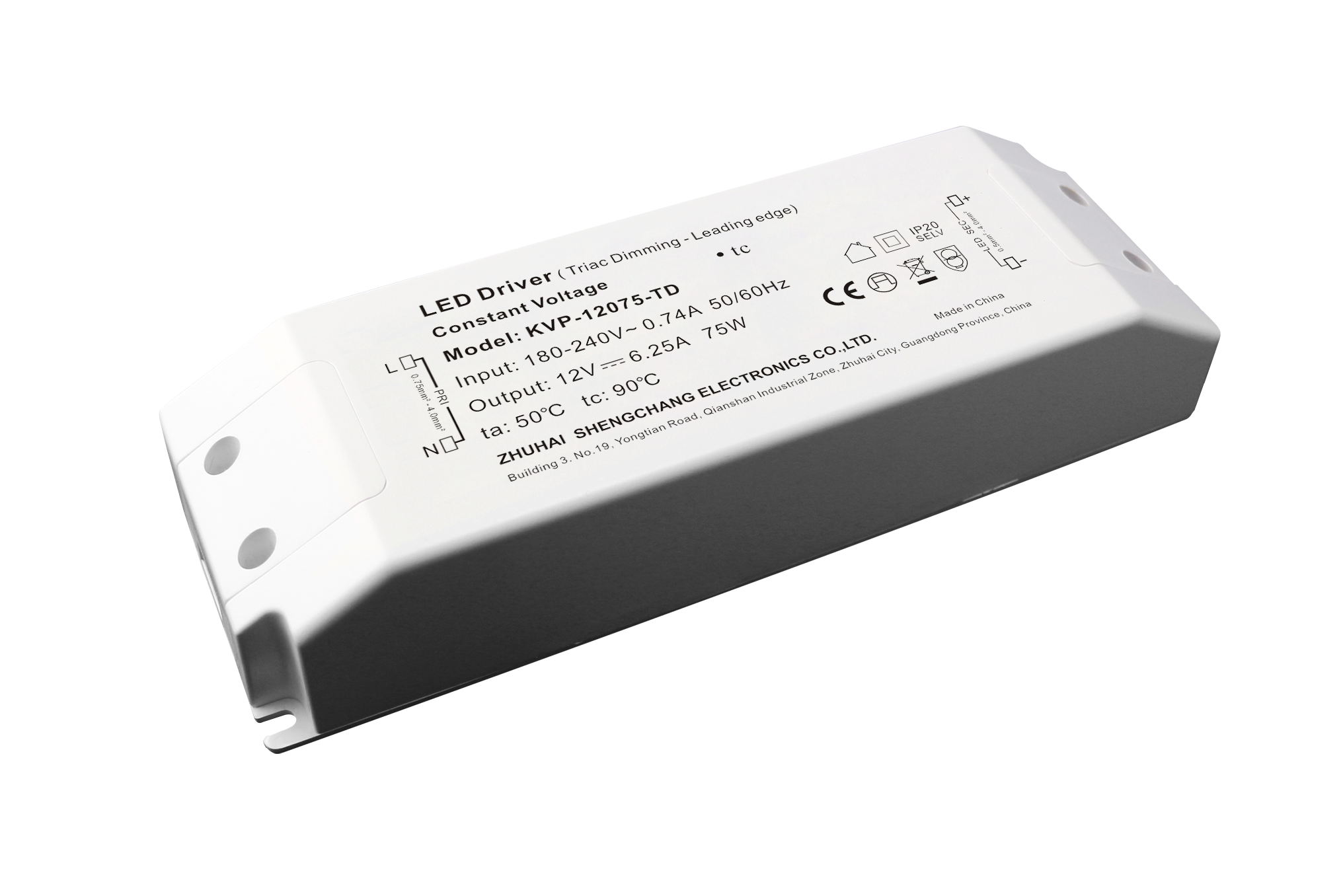220VAC KVP series 75W constant voltage Triac dimmable driver