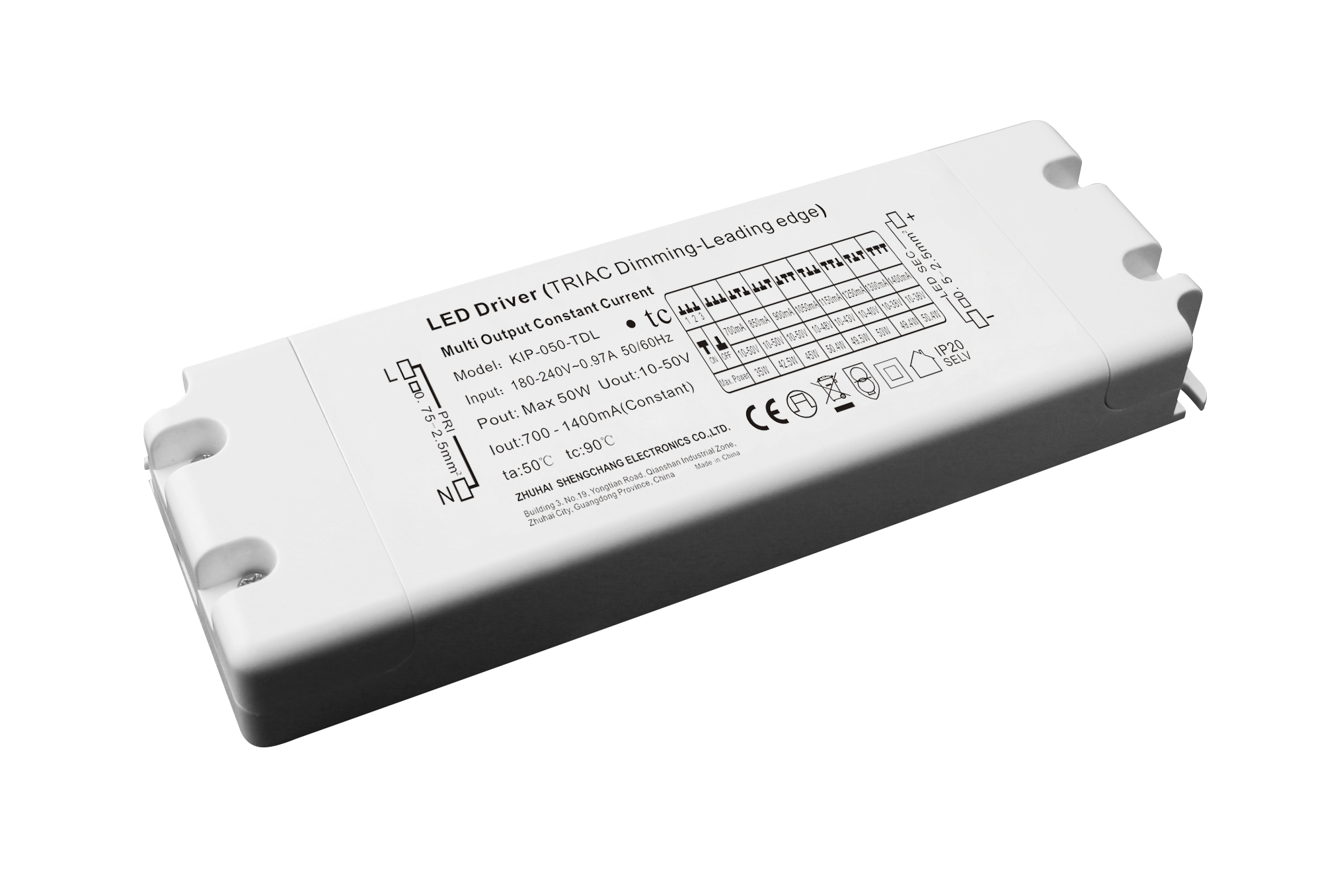 120VAC KIP series 50W multi-current triac dimmable driver