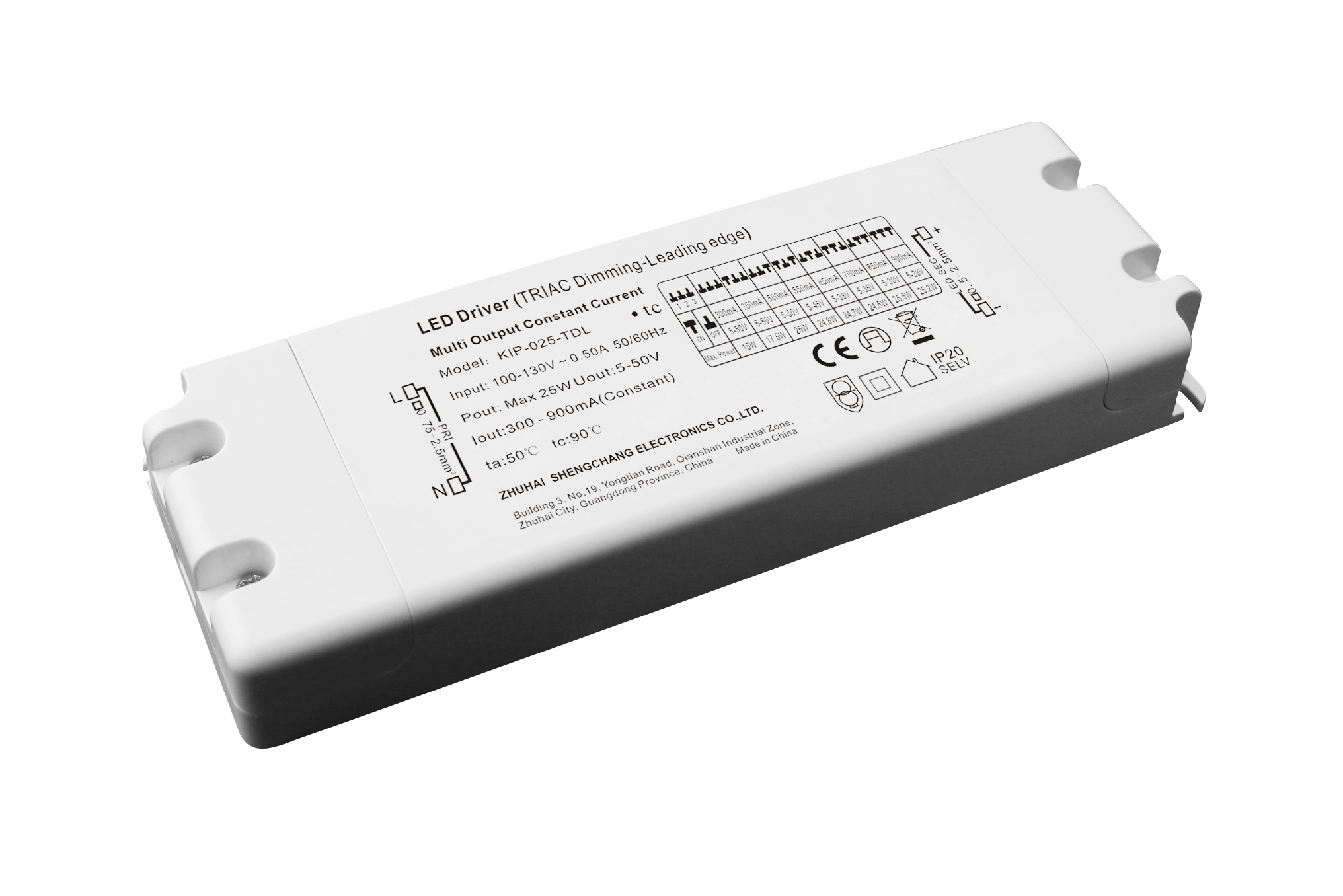 120VAC KIP series 25W multi-current triac dimmable driver