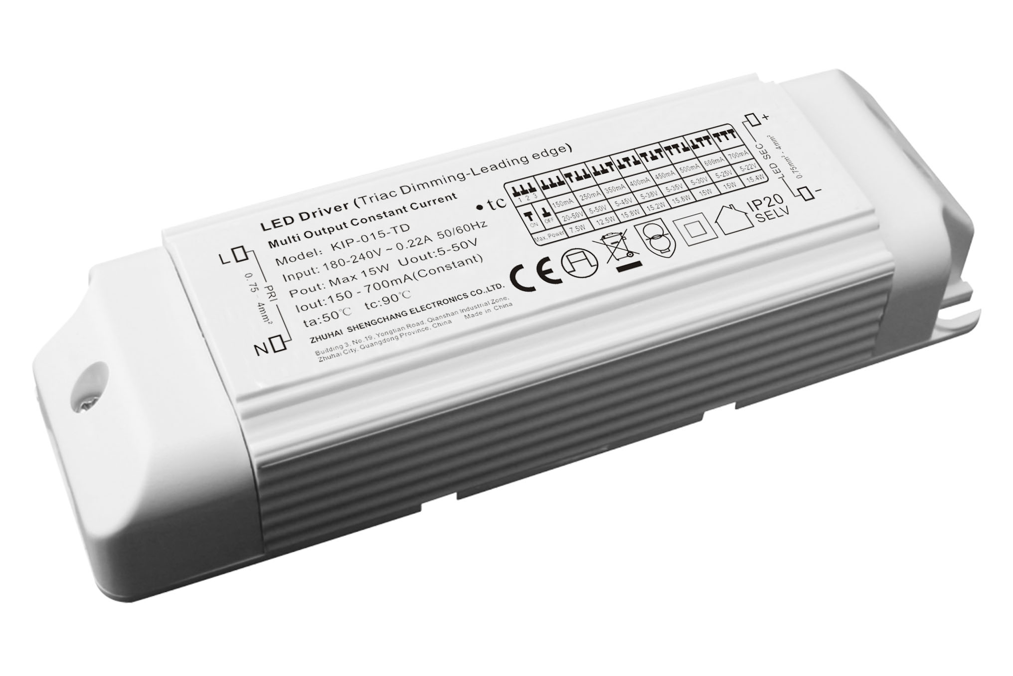 220VAC KIP series 15W multi-current triac dimmable driver