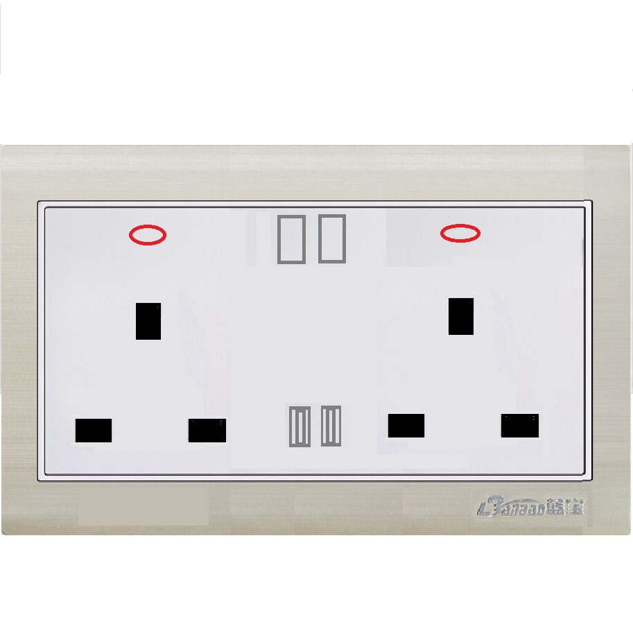 LK7073 13A double switched socket with 2USB