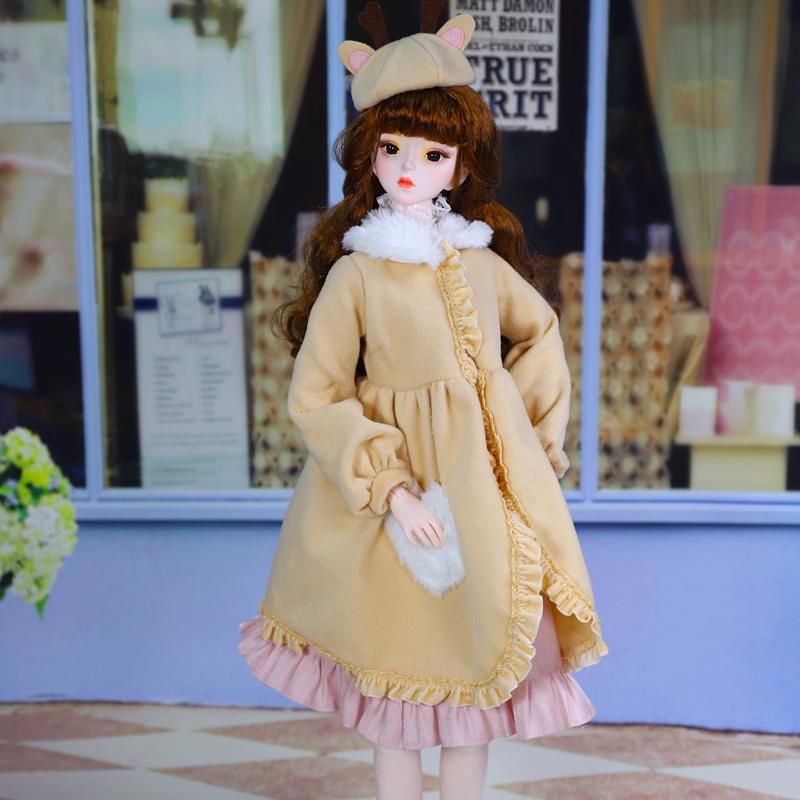 德必胜娃娃女孩玩具娃娃60cm3分大女bjd可换装改妆米苏冬装大衣娃