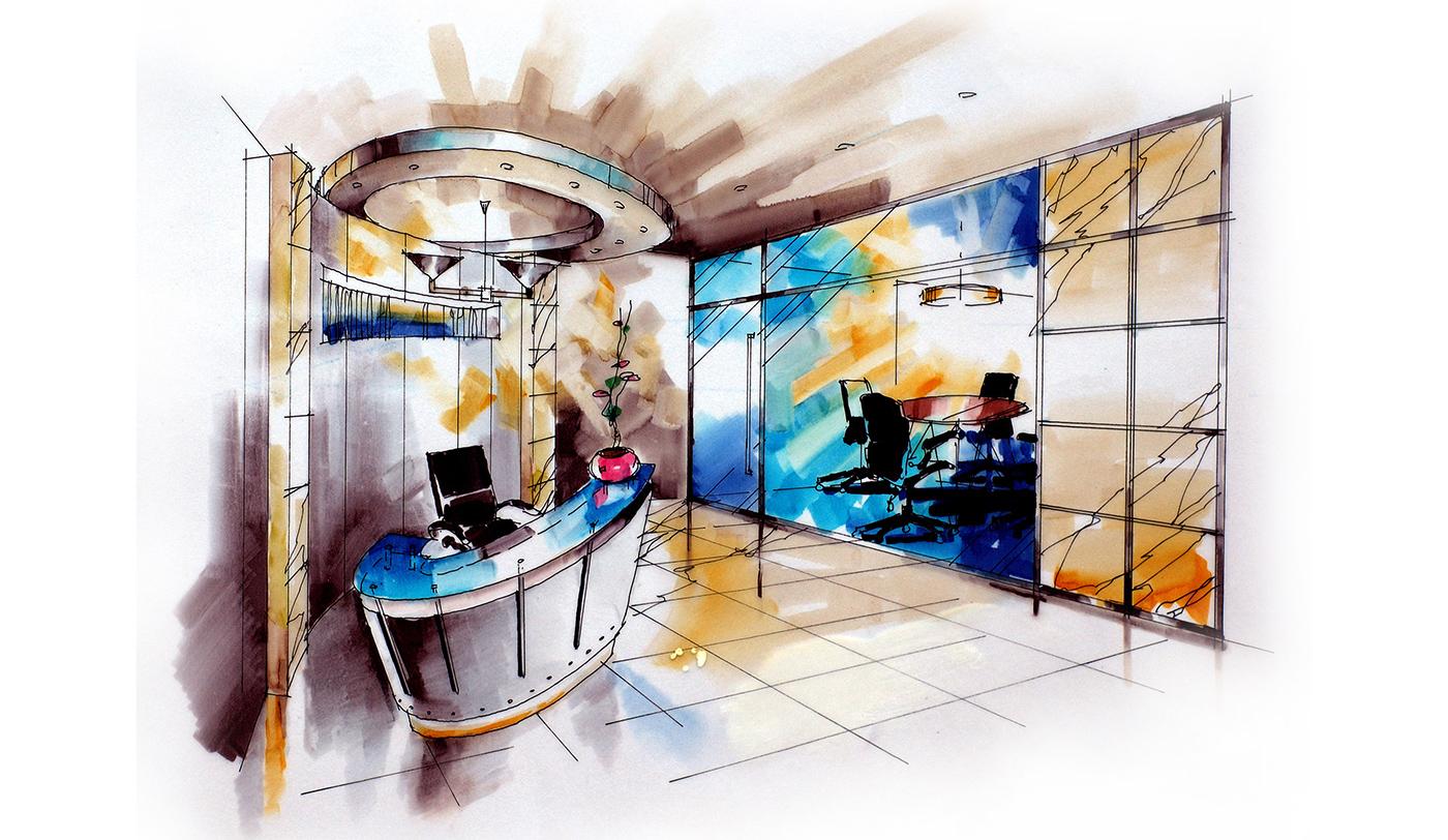 香港寫字樓接待室透視圖