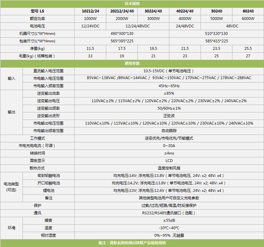 LS纯正弦工频逆变器技术规格参数