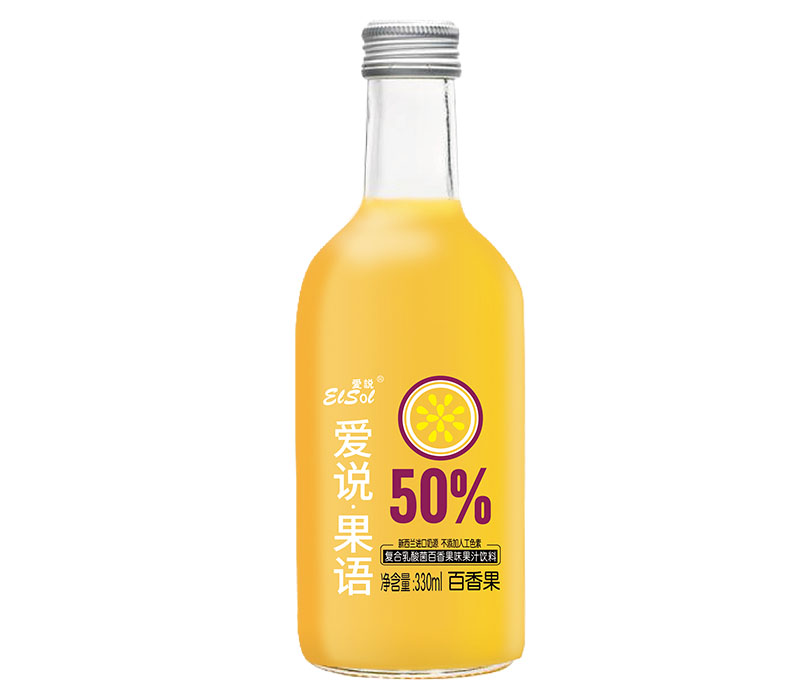 330ml爱说果语 复合乳酸菌百香果味果汁饮料