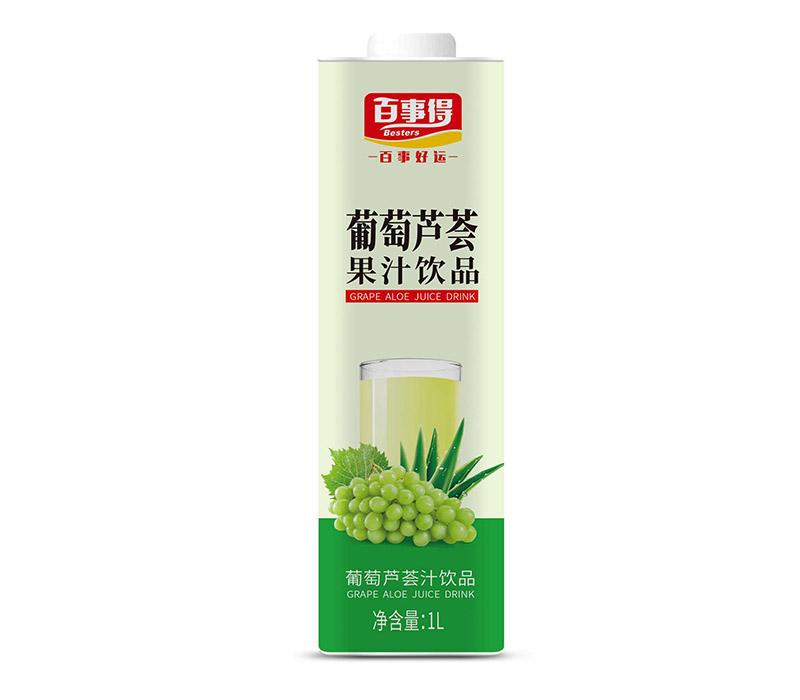 1L百事得直瓶方盒装葡萄芦荟汁饮料