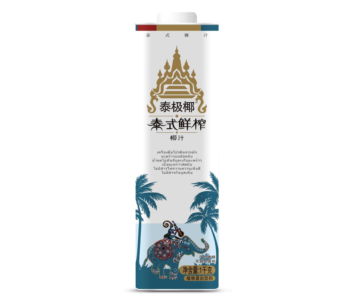 1L直瓶方盒盒装百事得泰极椰泰式生榨椰子汁饮料
