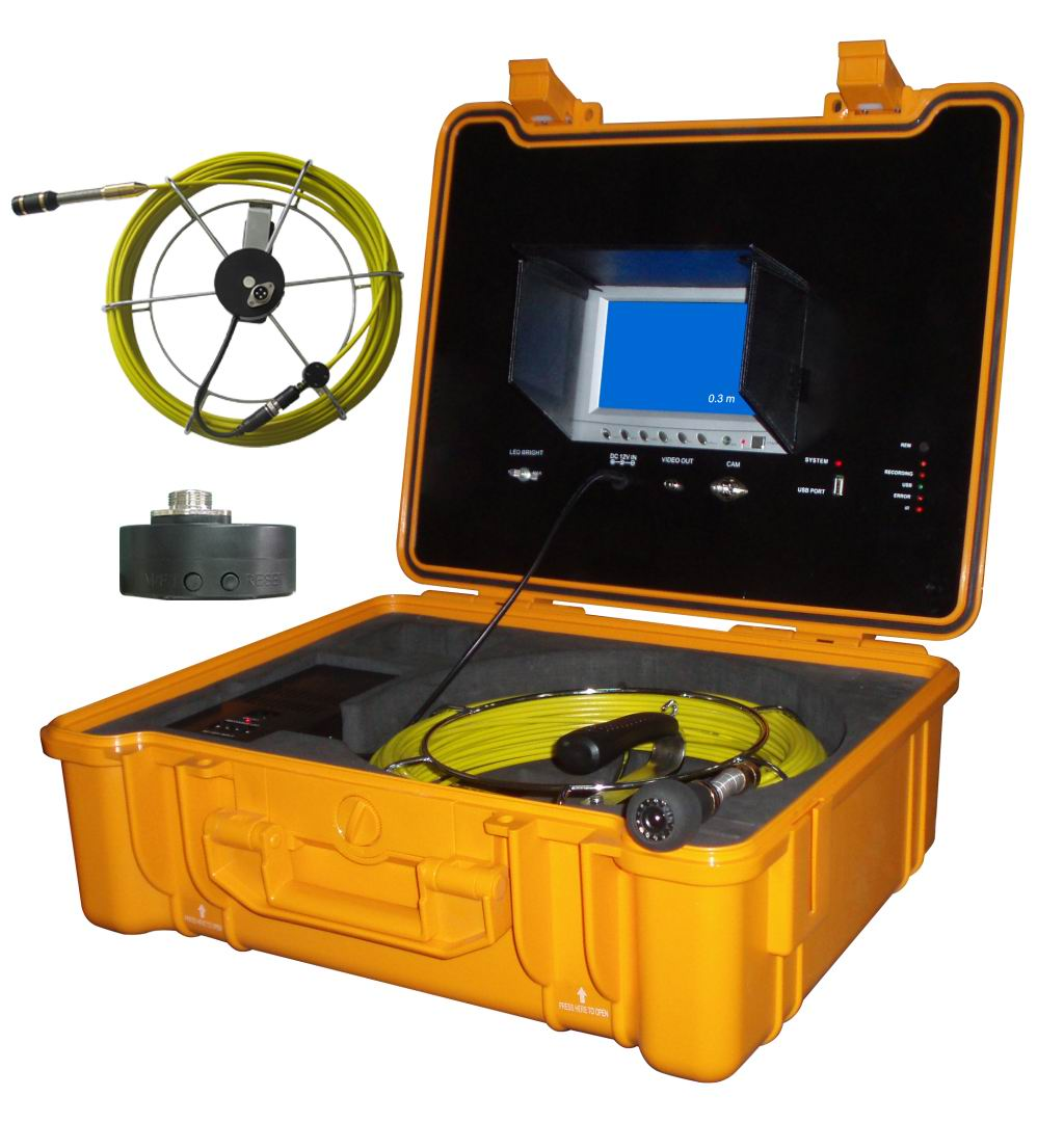 Pipe Drain Sewer Inspection System with 22mm Camera Head & Monitor DVR Controller