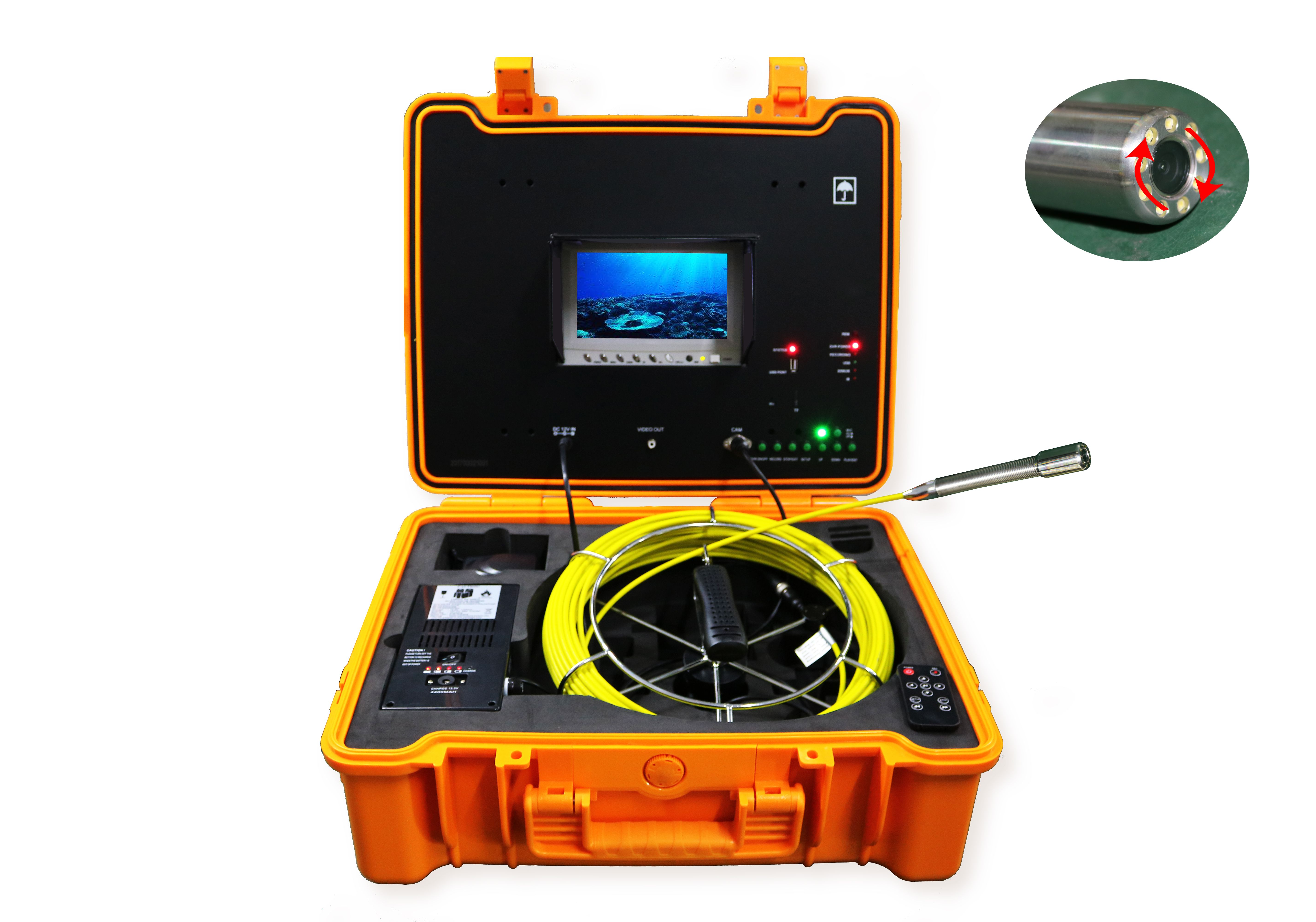 Waterproof self leveling CCTV Video Pipe drain sewer inspection camera with 5.2mm push rod