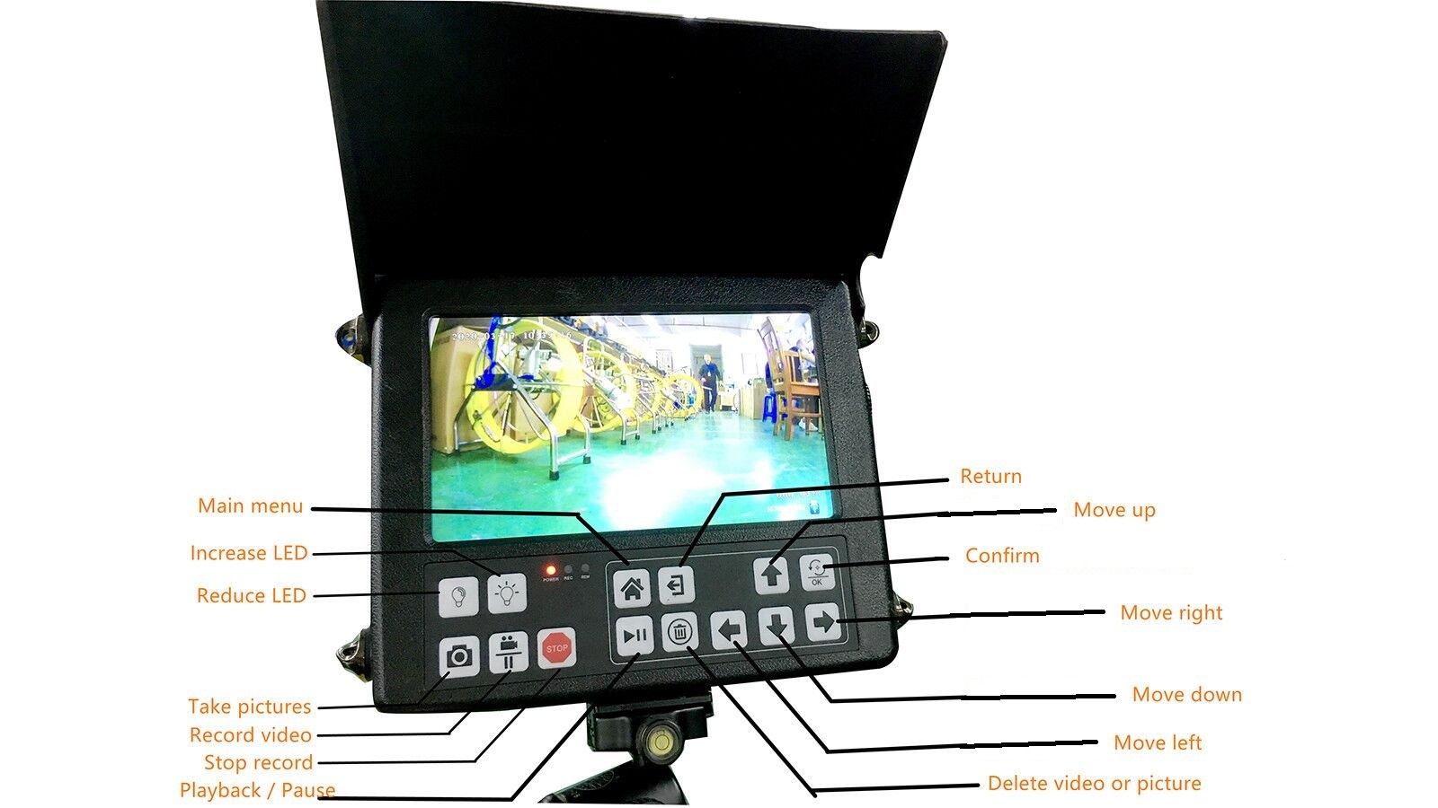 Witson 720P HD Chimney Inspection Camera System with Portable Monitor DVR Controller