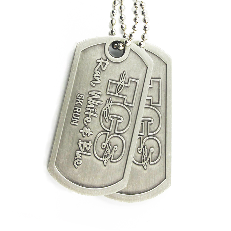 custom laser logo necklace blank army metal id dog tag