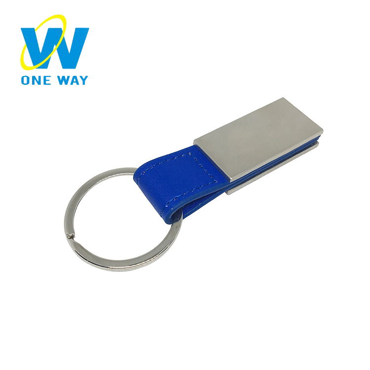 Oneway Factory wholesale promotional custom blank metal leather keychains