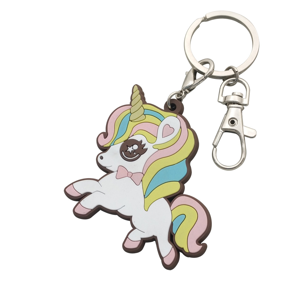 Oneway Manufacturer Professional Custom Rubber PVC Cartoon Unicorn Keychain