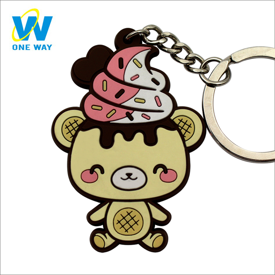 Custom Fashion Promotional Cartoon Yummii Bear Key ring Soft PVC Rubber Keychain