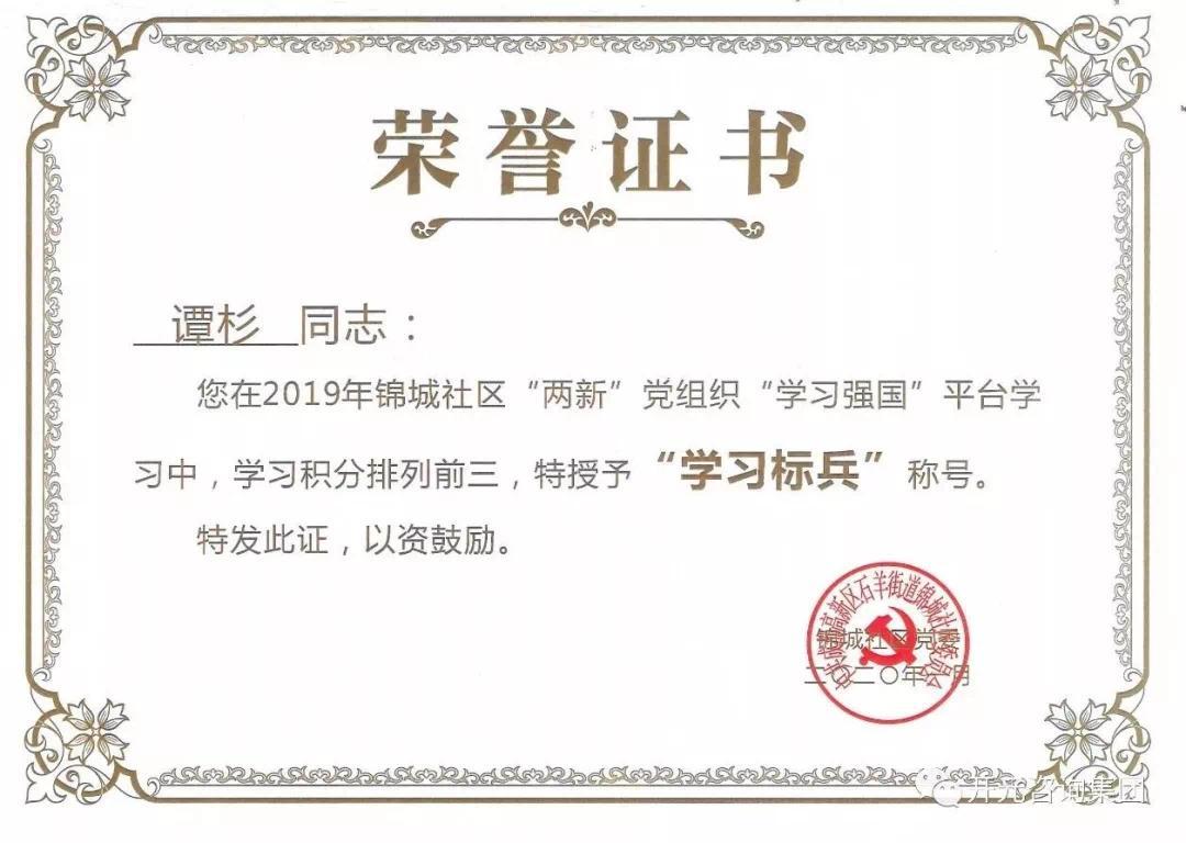 开元咨询四名党员受锦城社区表扬