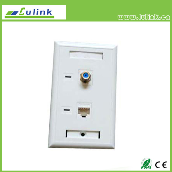 F81 Faceplate with F connecter and RJ11 Faceplate