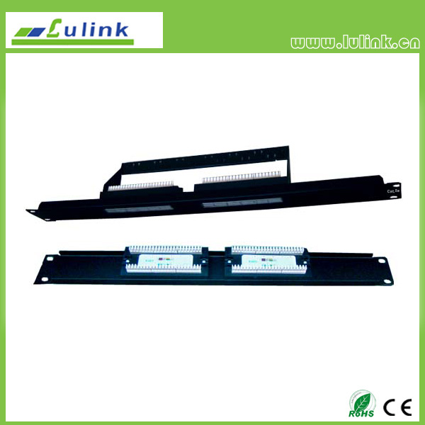 Cat5e UTP 12 PORT Patch Panel (Double Use End) with Bar