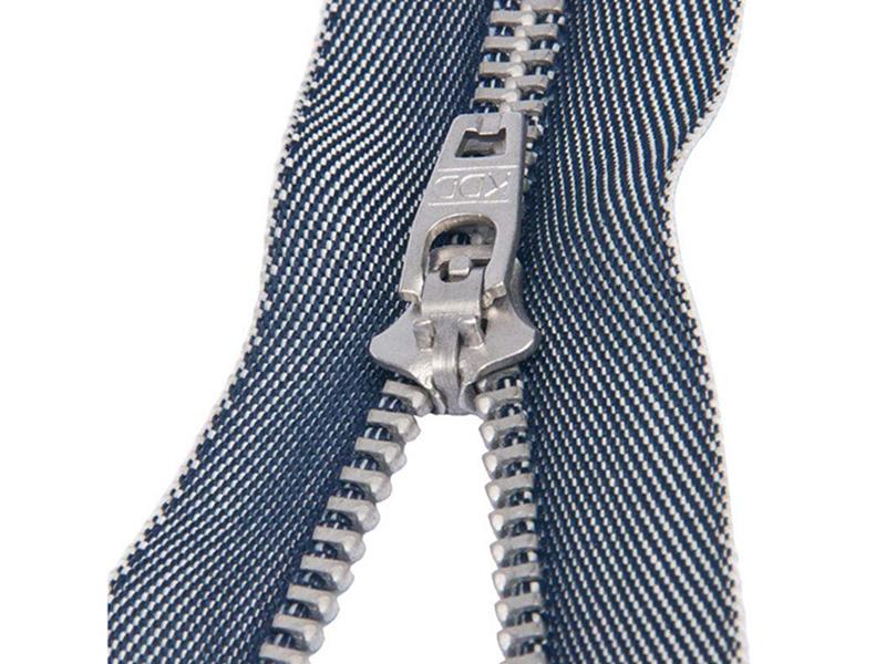 3#电镀白铜弹簧头牛仔布带拉链