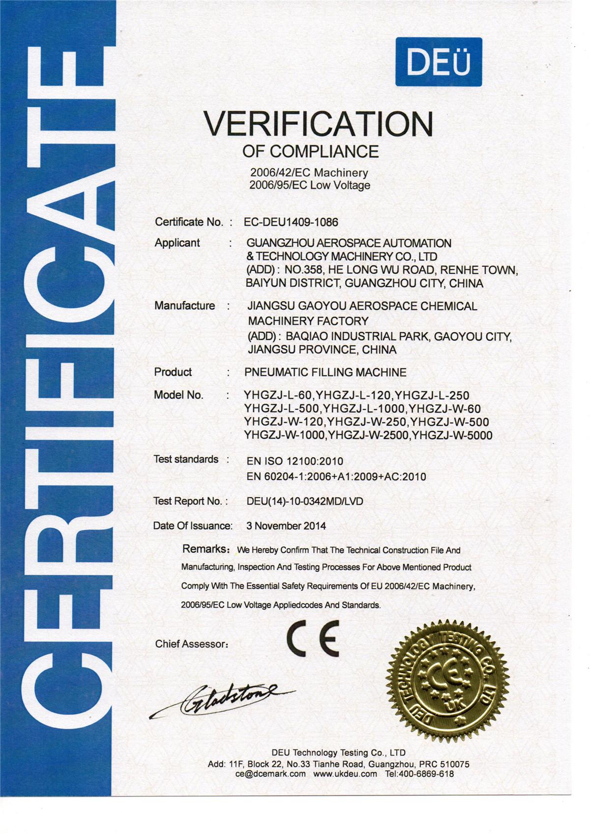 欧盟CE认证YHGZJ系列