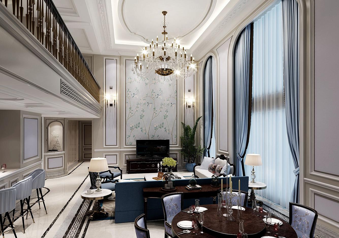 穆天子别墅客厅2-400方-美式