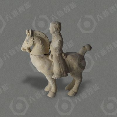 东汉红陶骑马抱琴俑(六新复制品)