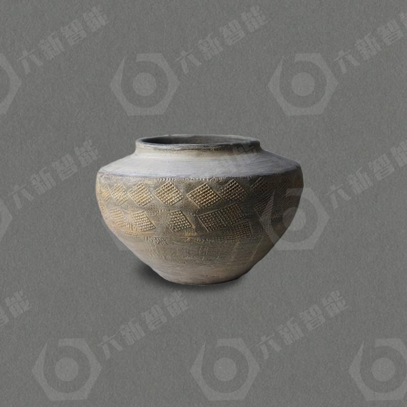 东汉菱形方格纹灰陶罐(六新复制品)
