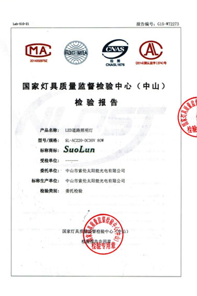 荣誉证书-国家级灯具检验报告