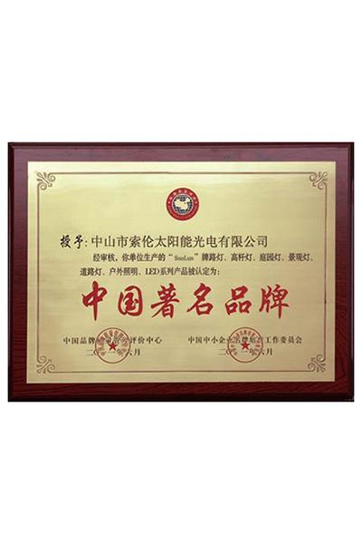 榮譽證書-中國著名品牌