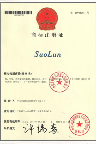 榮譽證書-Suolun商標注冊證