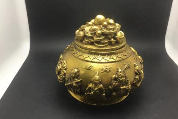 铜五路财神聚宝盆