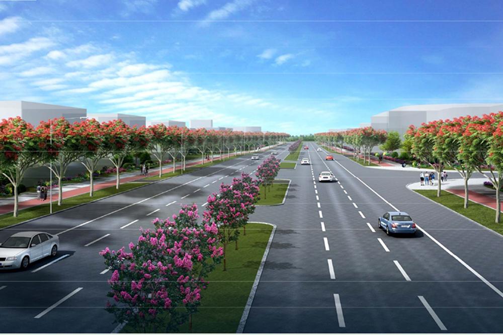 红旗镇中心城区和联港工业区基础设施升级改造第二批建设项目-虹晖四路、联合路及联港工业区绿化升级改造工程施工