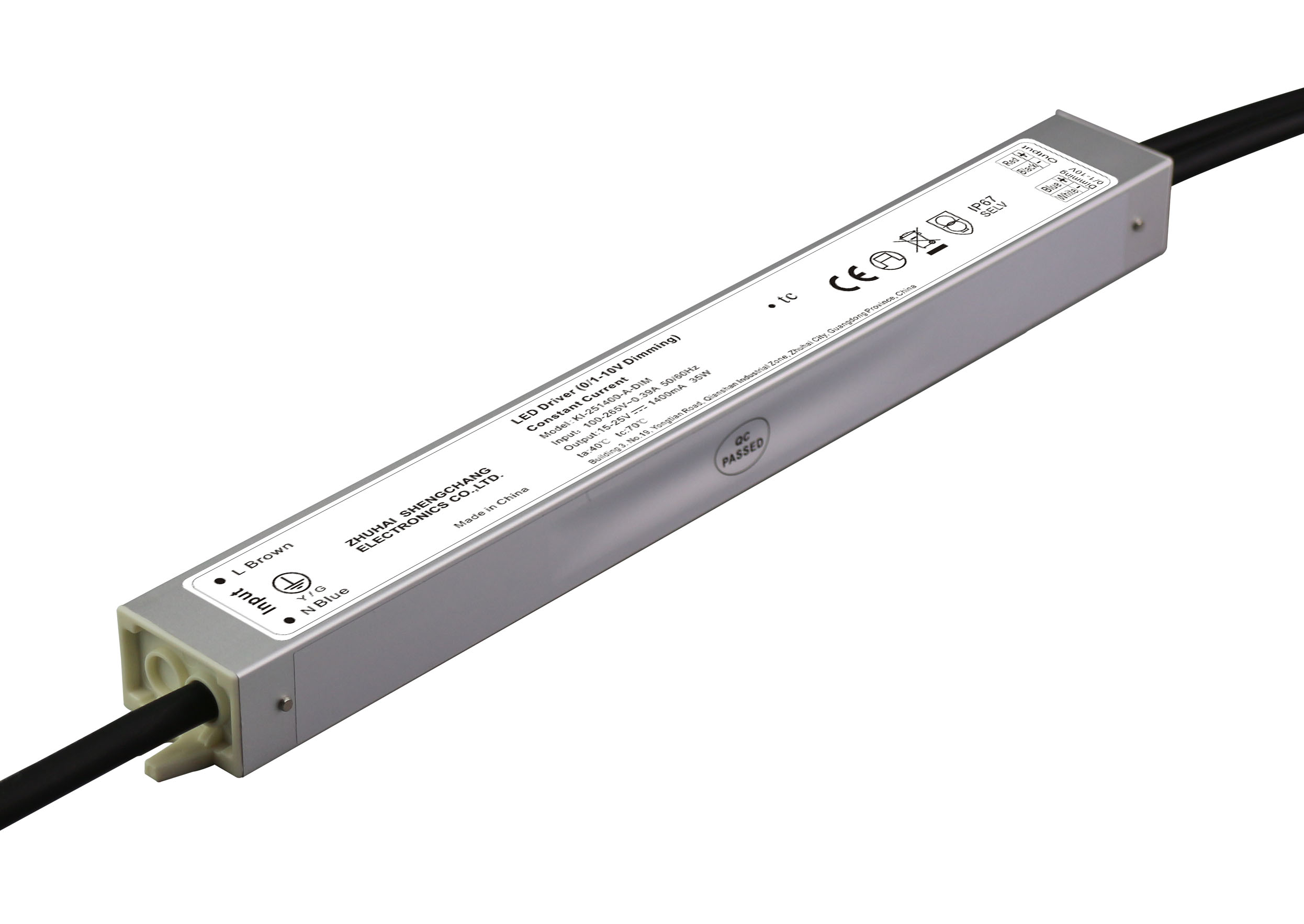 36W IP67 0/1-10V constant current dimmable LED driver