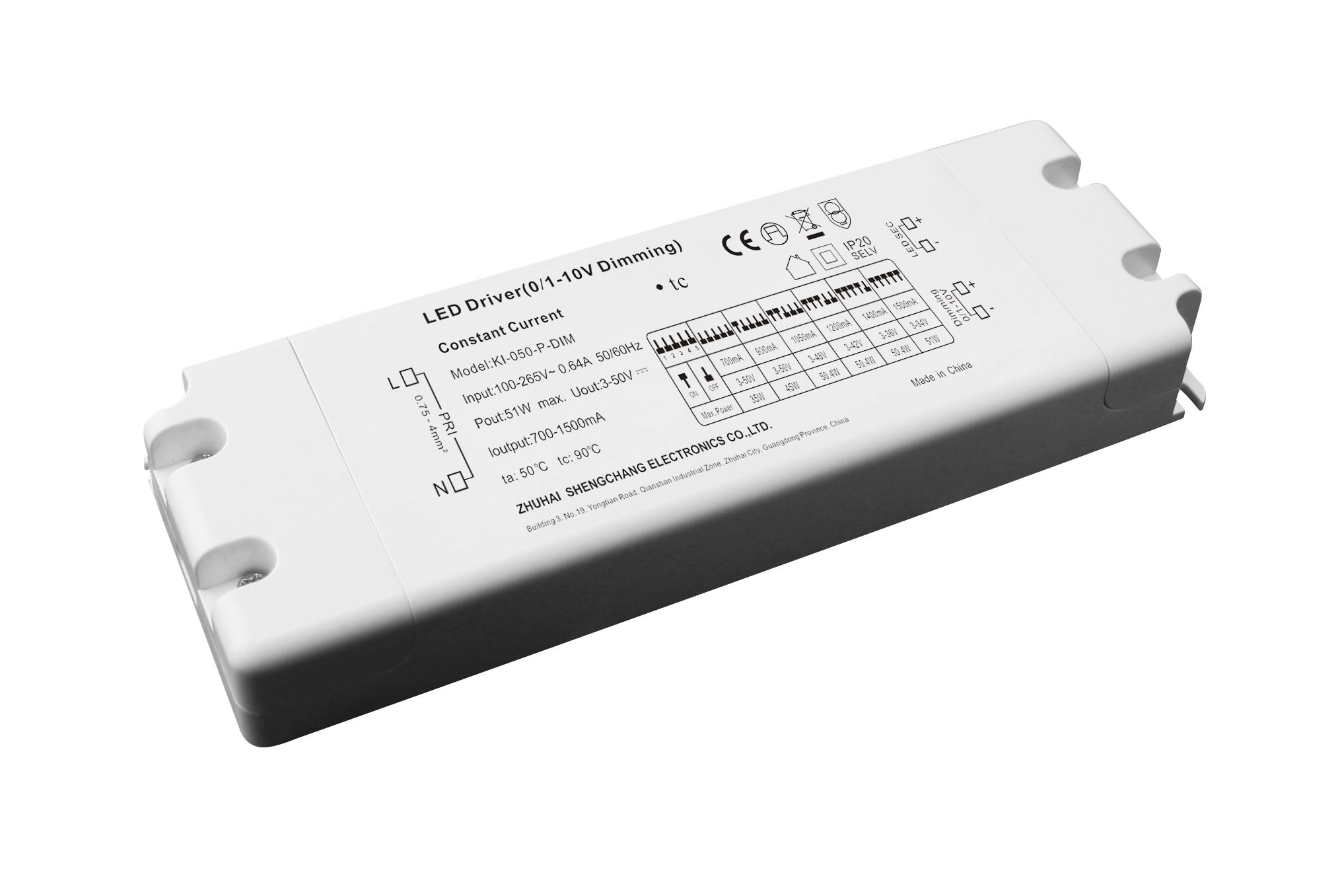 50W 0/1-10V multi-current constant current dimmable driver