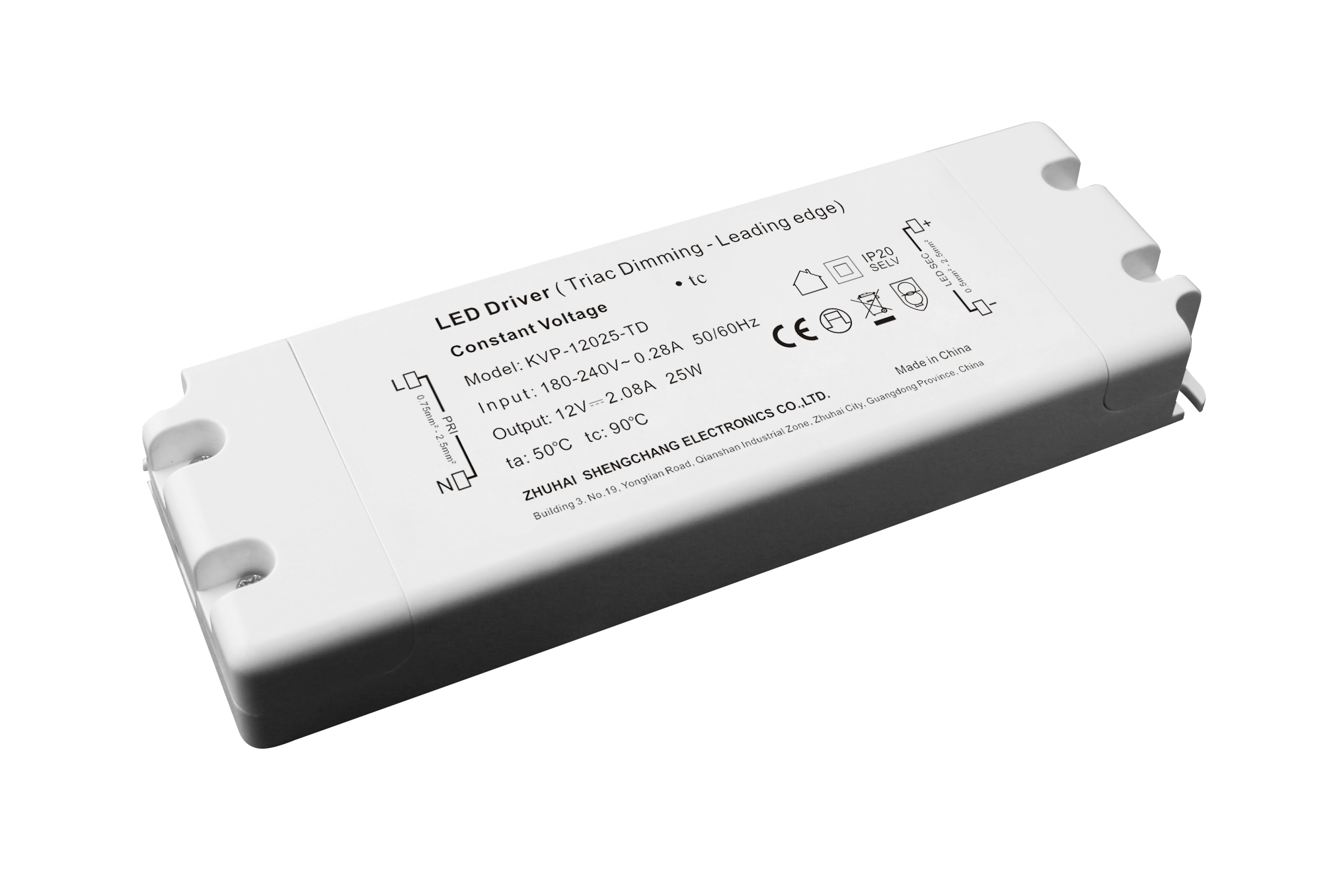 220VAC KVP series 25W constant voltage triac dimmable driver