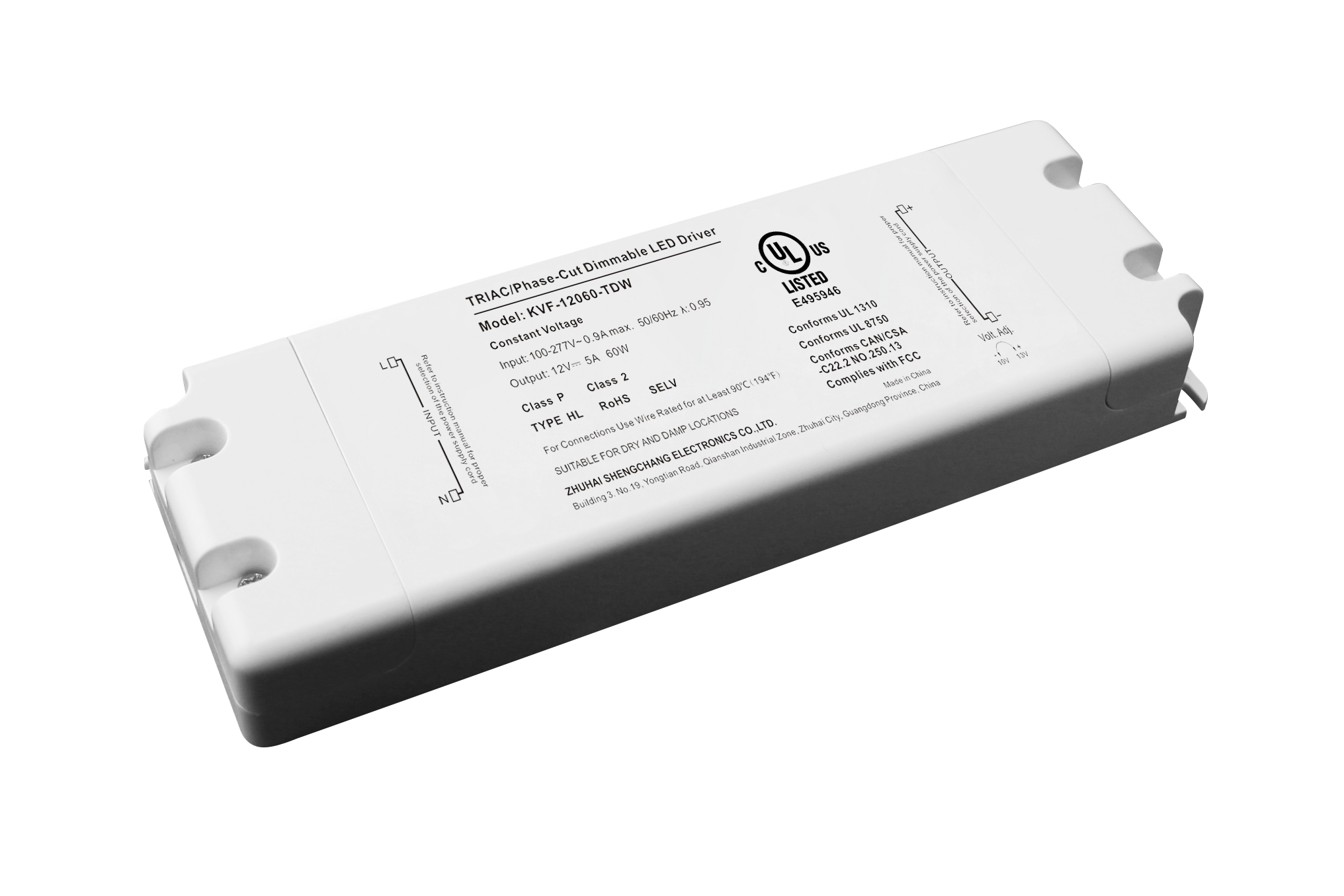 120VAC KVF Series 60W Constant Voltage Triac Dimmable LED driver