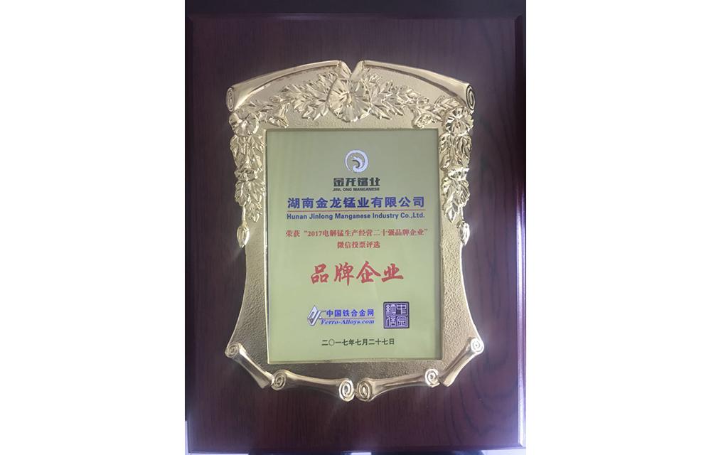 2017电解锰生产经营二十强品牌企业