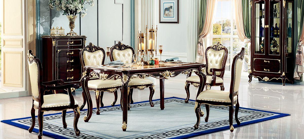 新古典黑檀-7312餐台-7312餐椅/进口实木框架/接触面进口头层真皮/高弹力海棉