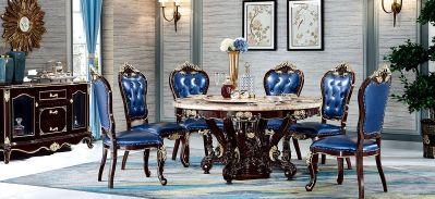 新古典黑檀-7318餐台-7322餐椅/进口实木框架/接触面进口头层真皮/高弹力海棉